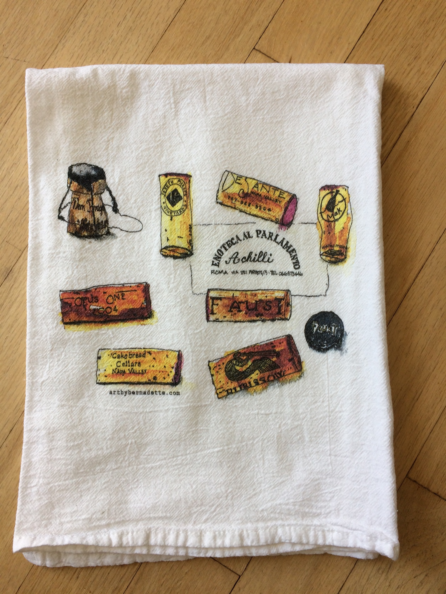 Wine cork tea towel
