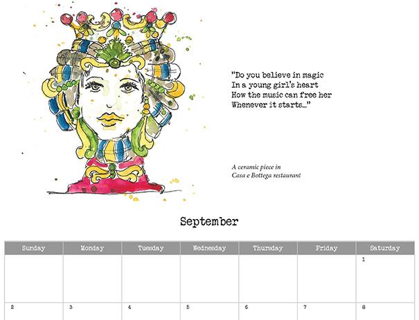 2018 calendar sample