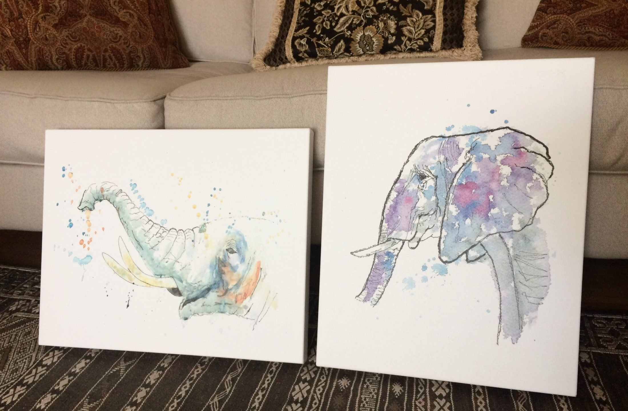 2 elephant paintings